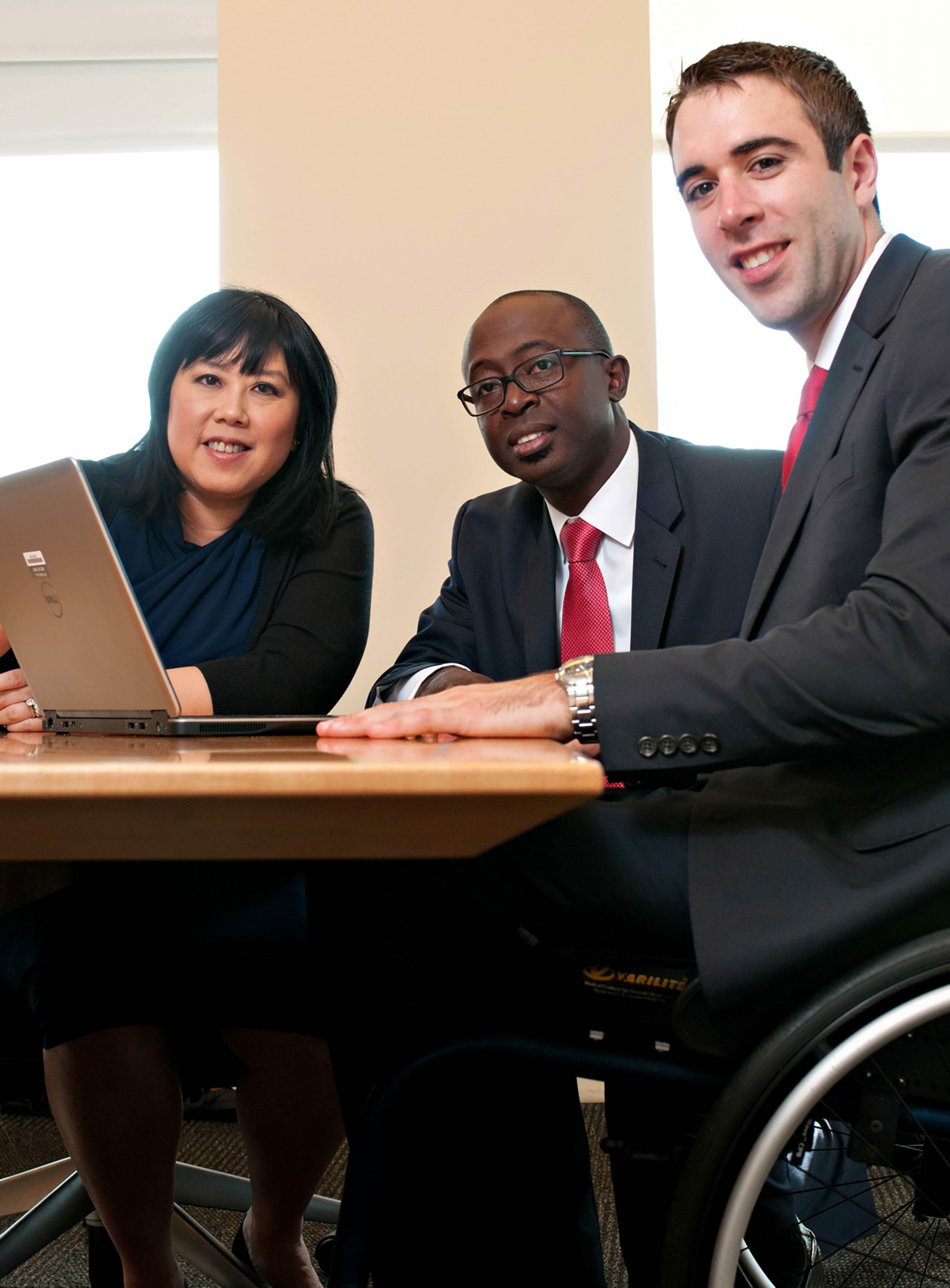 diverse business professionals working together