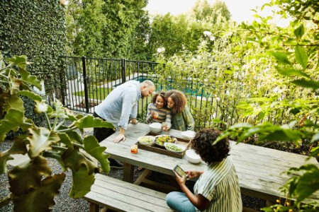 EY - Father looking at daughters smart phone during backyard family picninc