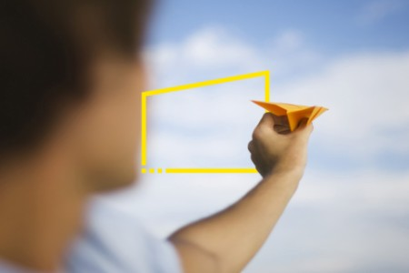 aiming paper airplane static