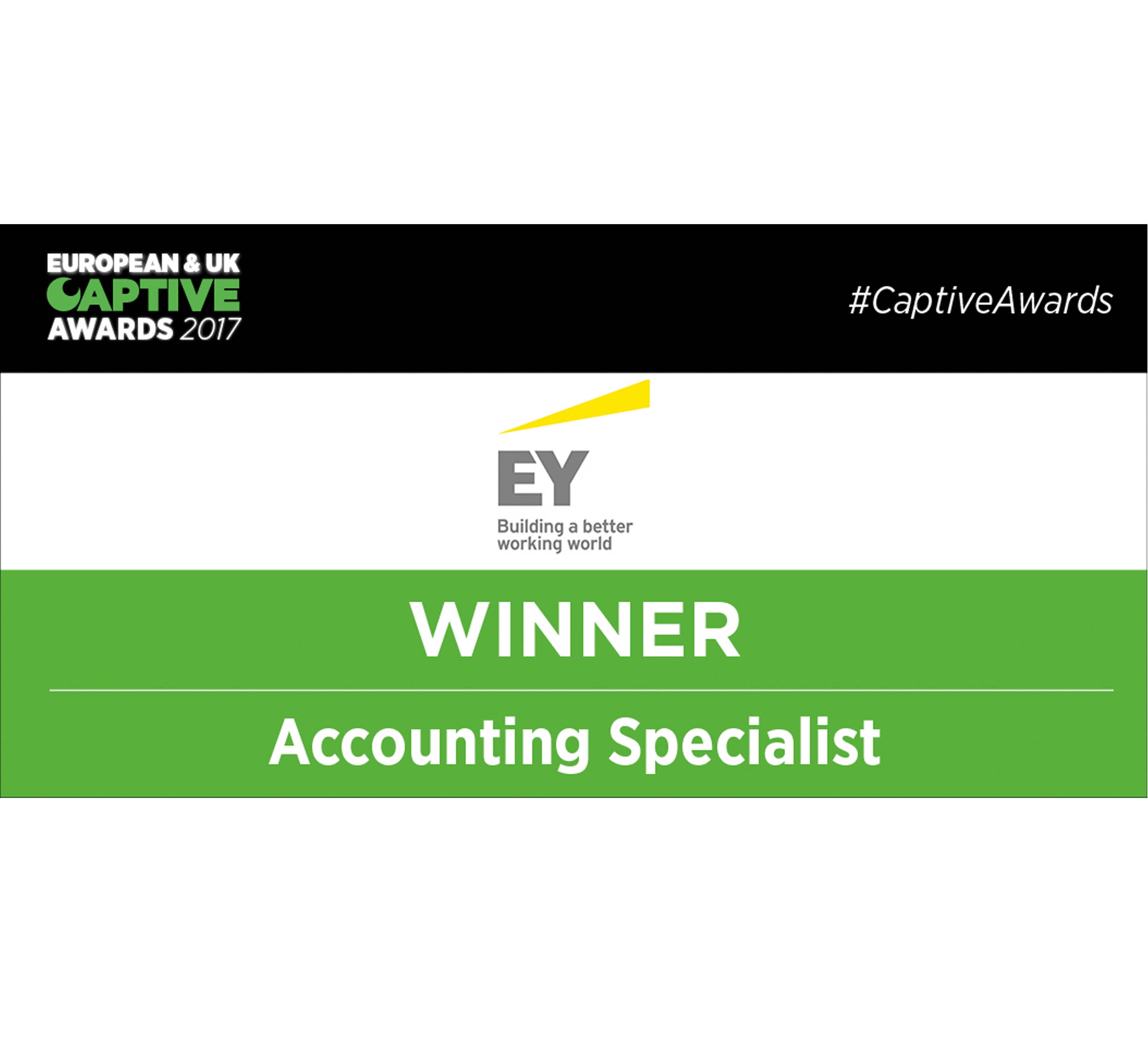 European & UK Captive Awards 2017 Winner Accounting Specialist EY