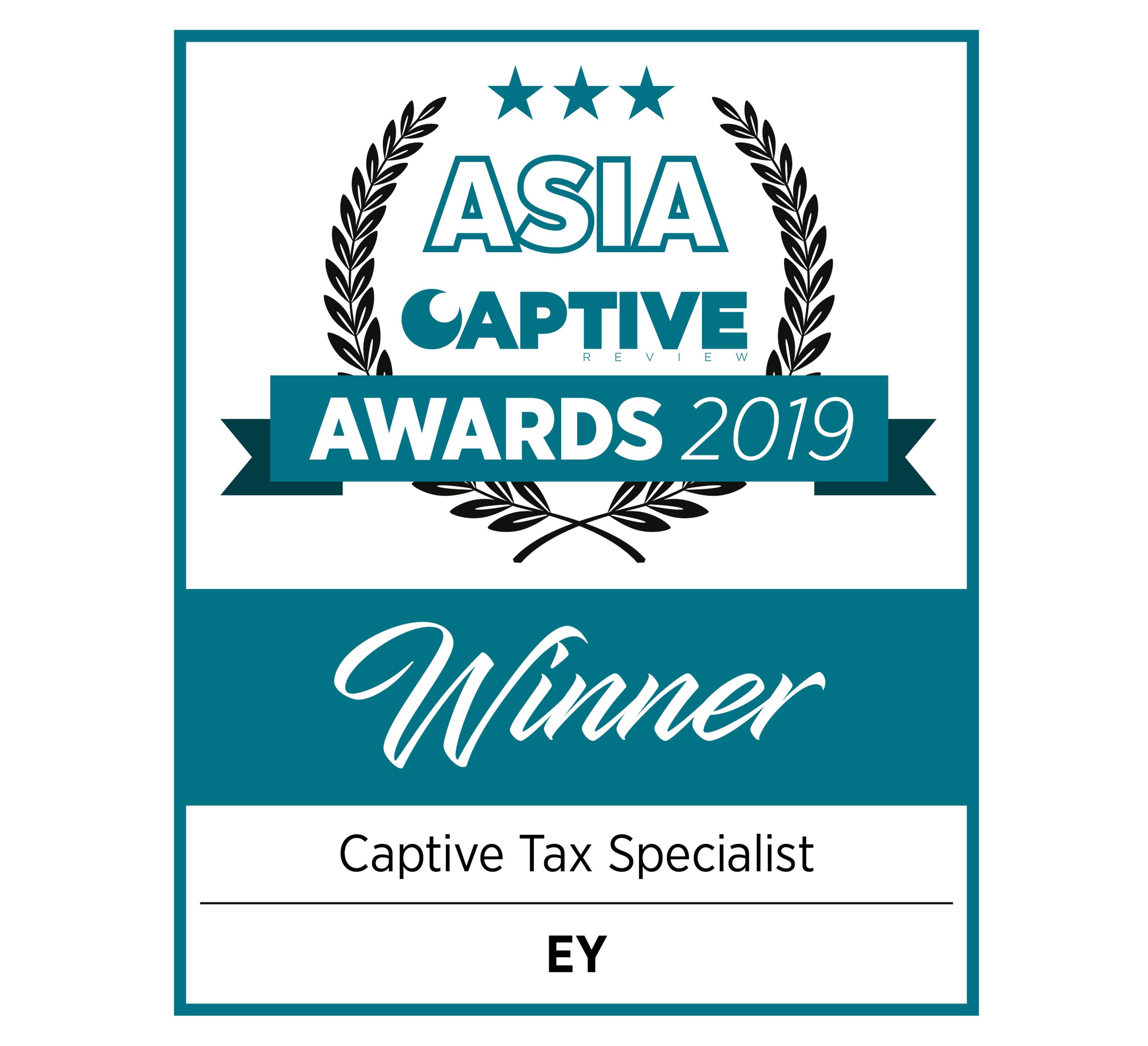 Asia Captive Awards 2019 Winner Captive Tax Specialist EY