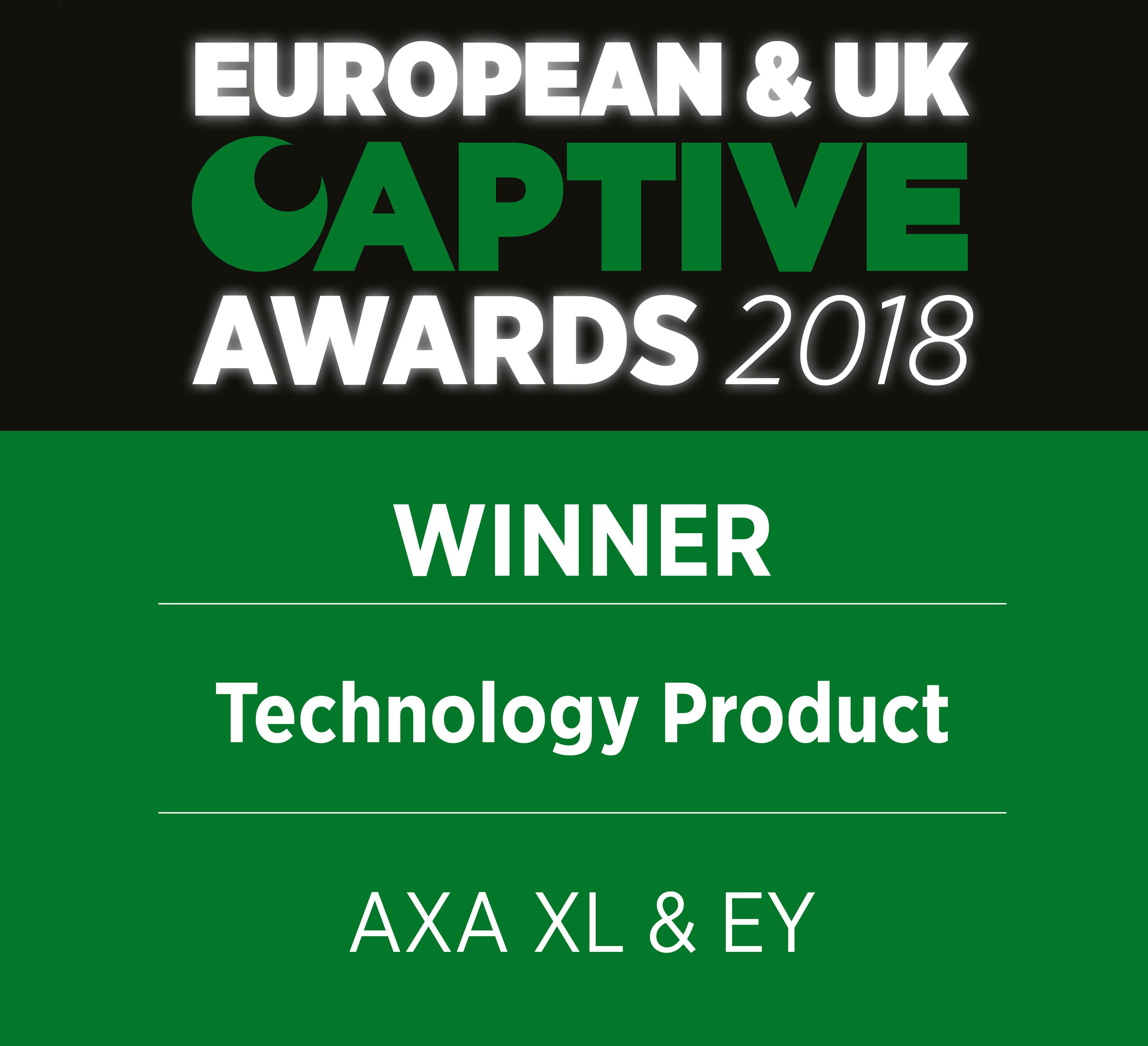 European & UK Captive Awards 2018 Winner Technology Product AXA XL & EY