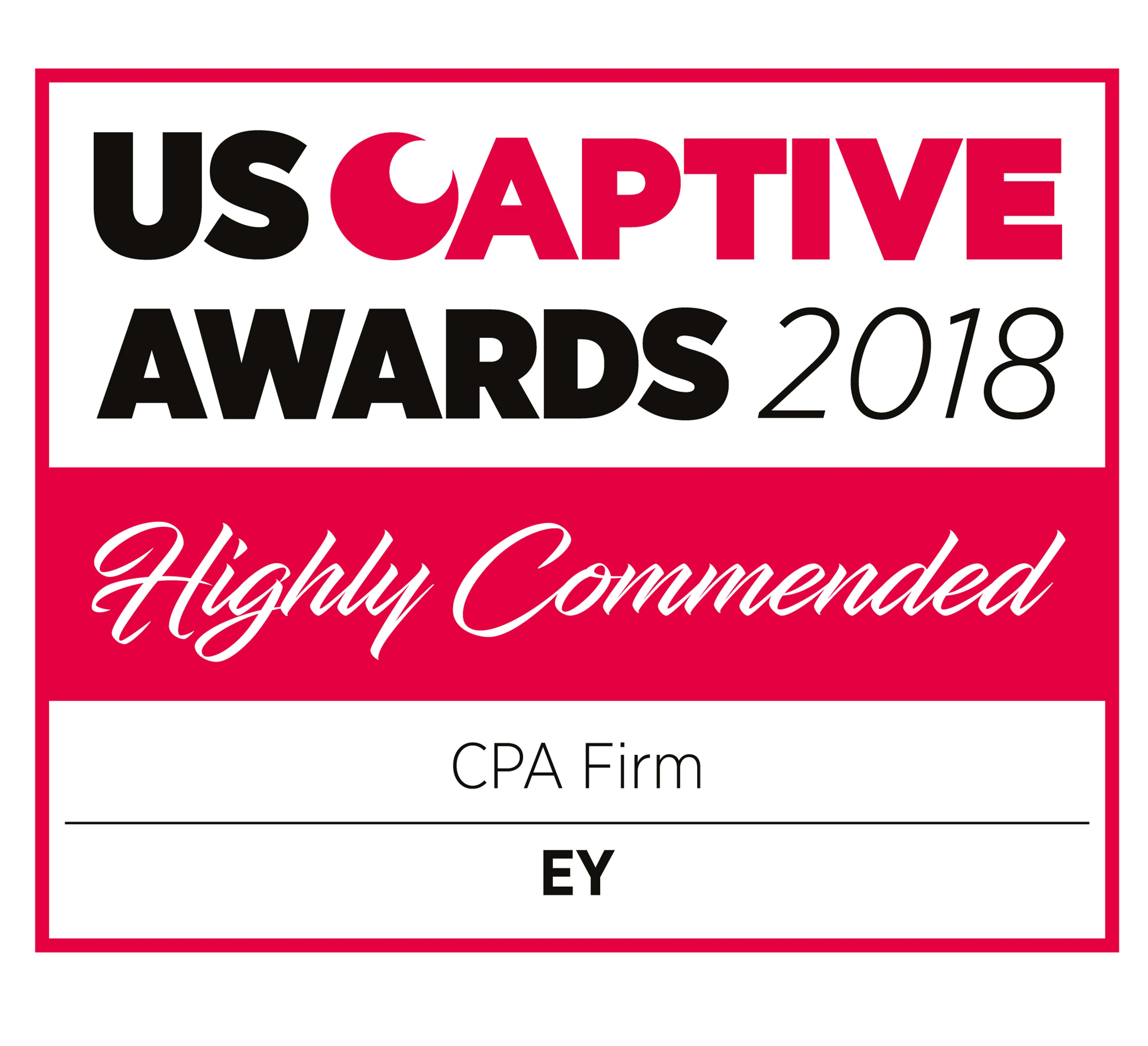 US Captive Awards 2018 Highly Commended CPA Firm EY