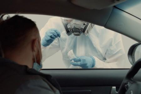 Man recieving a COVID-19 test