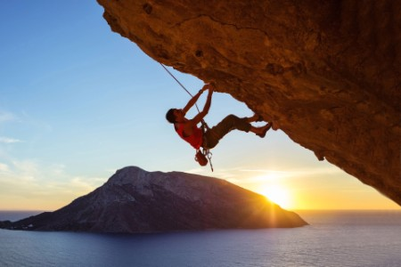 EY - Male climber on onverhanging rock