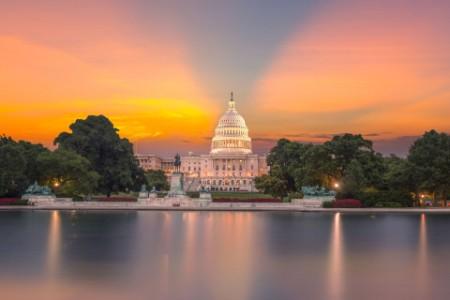 Capitol building sunset Congress of USA