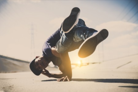 Breakdancers perfrming tricks