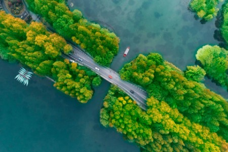 Aerial view of road over water