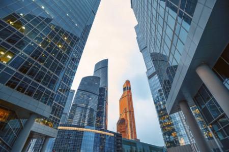 Tops of modern corporate buildings