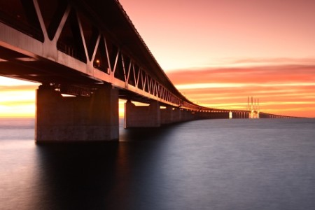 Bridge and water during sunset