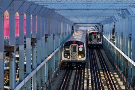 Subway cars crossing a bridge