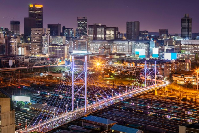 City bridge and lights
