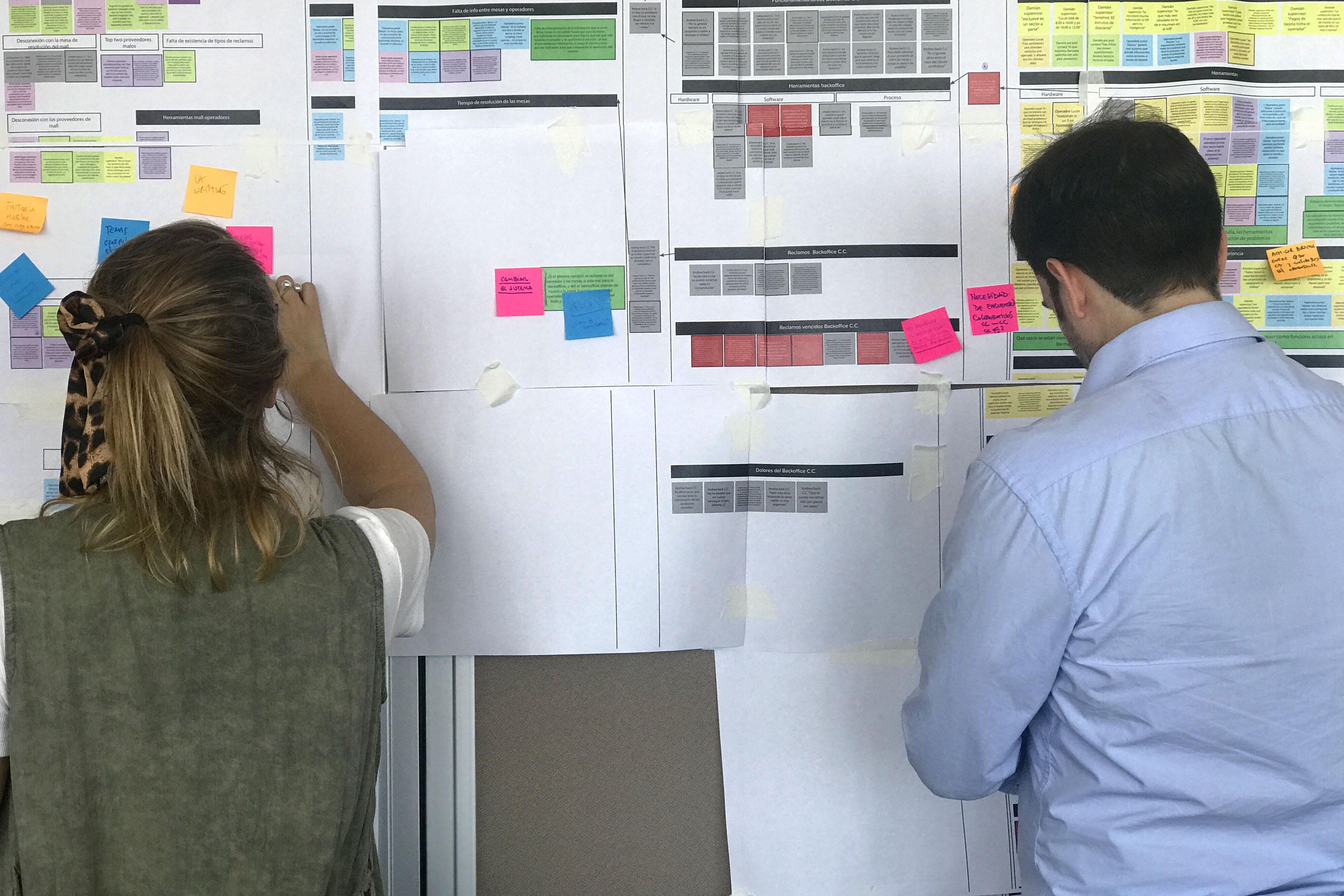 Dos personas mirando una pared con post-its pegados en la misma