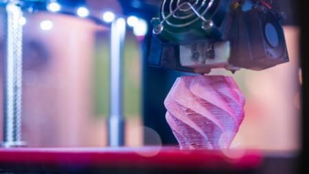 Modern 3D printer machine printing plastic model