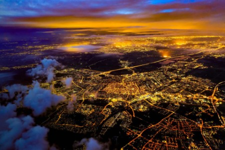 ariel view of the city