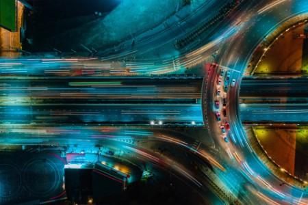 night traffic on flyover