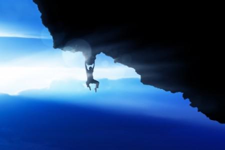ey-view-of-a-man-rock-climbing