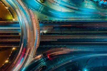Aerial nightime traffic on highway