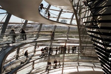 People walking in a modern building