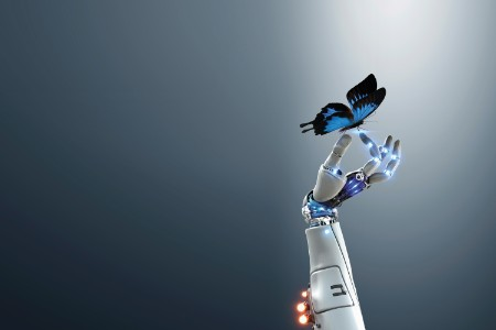Robotic hand with a butterfly
