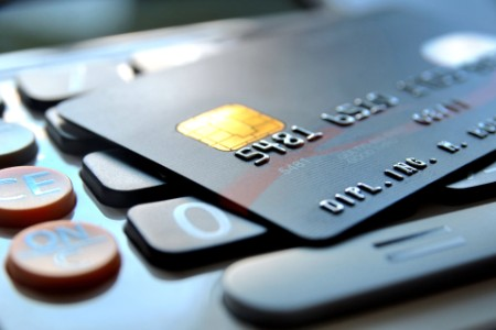 Credit cards on keyboard