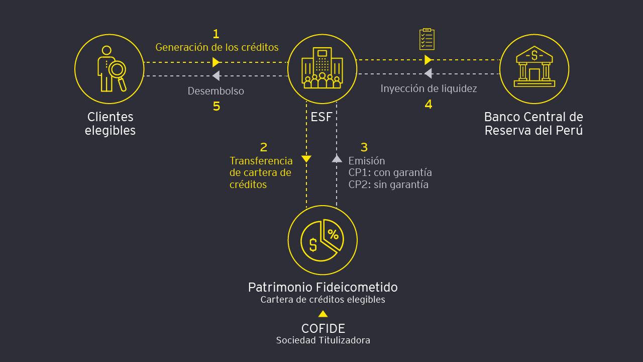 Flujo de canalización de la garantía mediante Fideicomiso