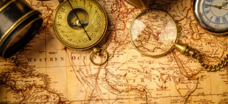 A compass on a map