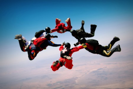 Parachuters in freefall