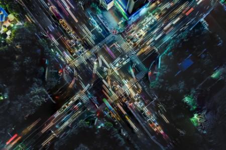 Drone image big city