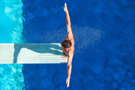 Springboard diving competitor