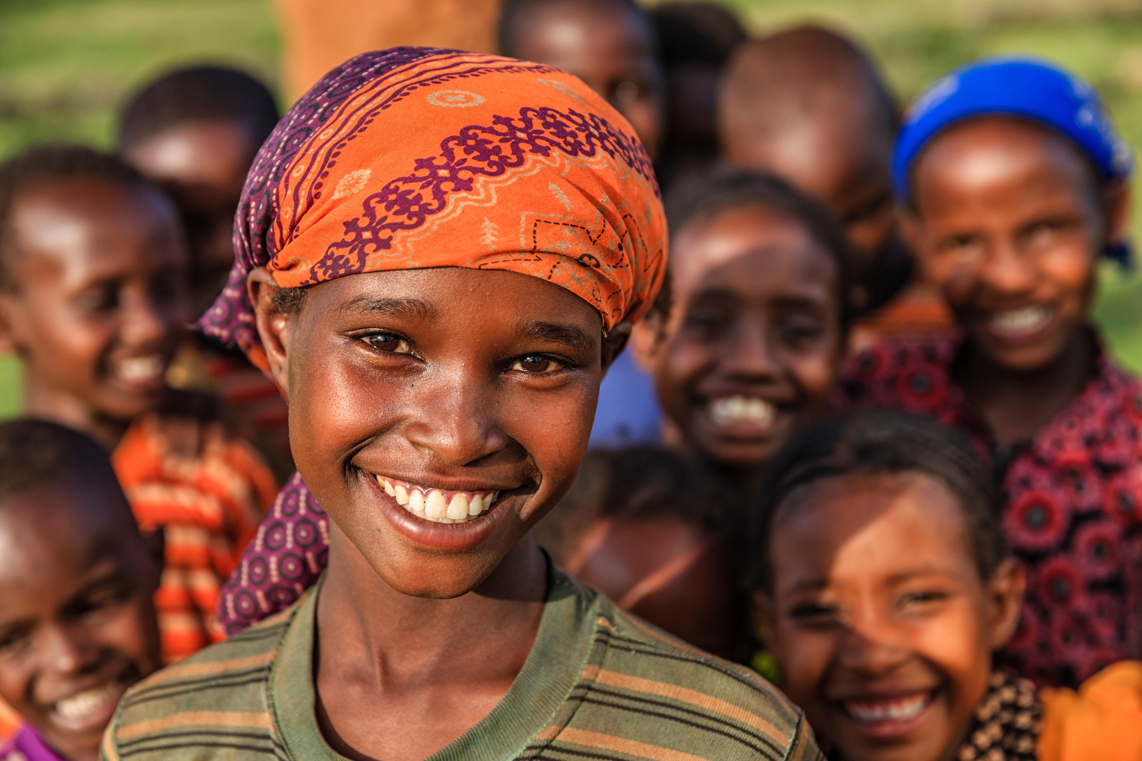 Groep gelukkige Afrikaanse kinderen Oost-Afrika