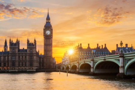 Big ben, London, i solnedgang