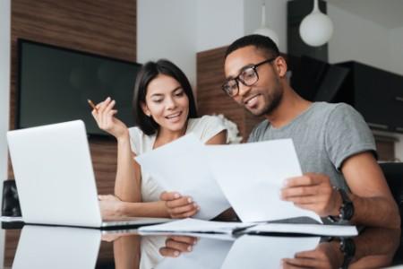 Couple analyzing finances