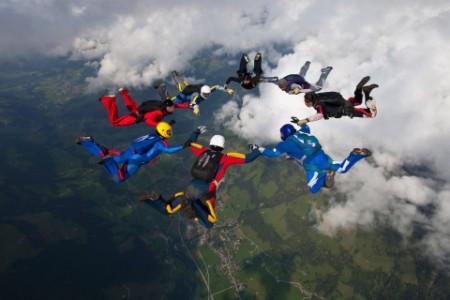 Sky diving by group of adventurous people