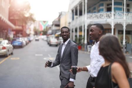 Business people walking on the street road