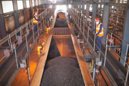 EY co-workers checking the coal mine in Cargo container