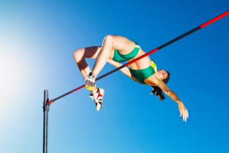 EY lady athlete high jump