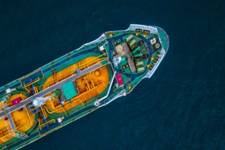 Tanker ship logistic and transportation at sea, Aerial view tanker.