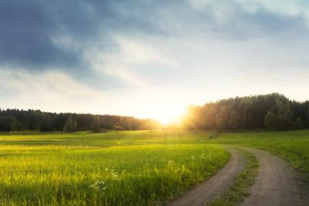 Landsväg i solnedgång
