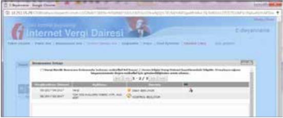 Görsel: İnternet vergi dairesi SGK kontrol kısmı